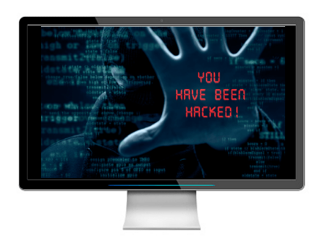 An illustration of a hacked computer